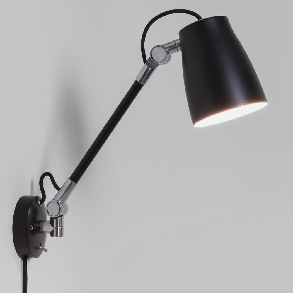 Luxo Spotlight Wall Light with arm in Black  Imperial